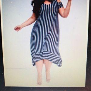 Lane Bryant Cold-shoulder stripe maxi dress